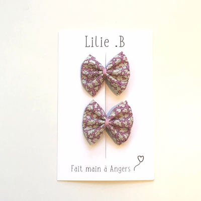 Duo de barrettes Liberty Feather Fileds rose