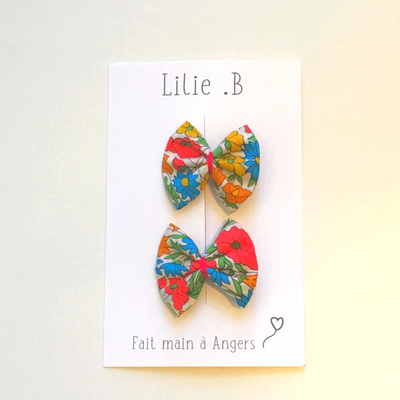 Duo de barrettes Liberty Poppy Daisy Orange Blossom