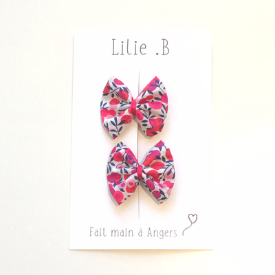 Duo de barrettes Liberty Wiltshire rouge