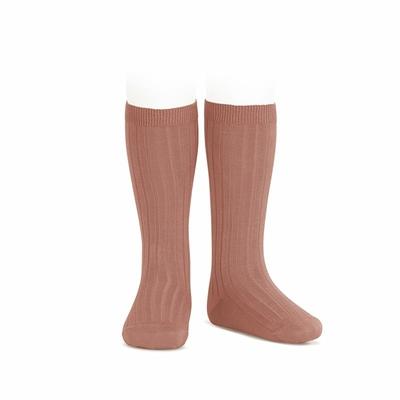 Chaussettes hautes maille côtelée coloris Terracota
