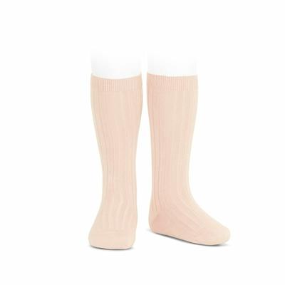 Chaussettes hautes maille côtelée coloris Nude