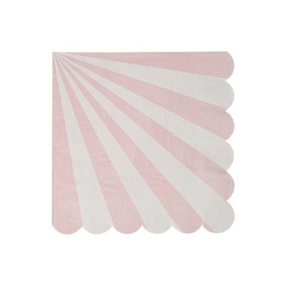 Lot de 20 petites serviettes à rayures roses