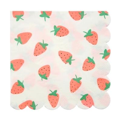 Lot de 16 grandes serviettes en papier Fraises