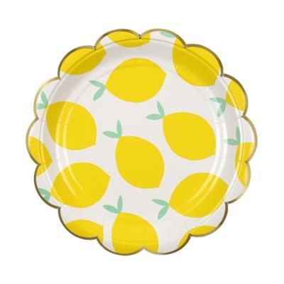 Lot de 8 petites assiettes en carton Citrons