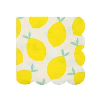 Lot de 20 petites serviettes Citrons