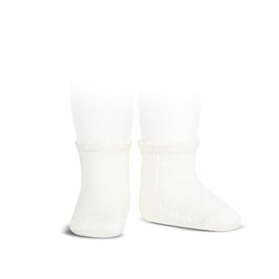 Socquettes ajourées en coton perlé coloris Blanc