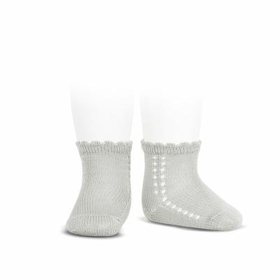 Socquettes ajourées en coton perlé coloris Gris Perle