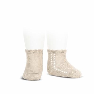 Socquettes ajourées en coton perlé coloris Lin