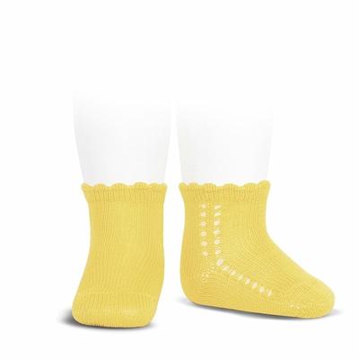 Socquettes ajourées en coton perlé coloris Limoncello
