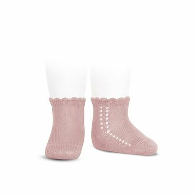 Socquettes ajourées en coton perlé coloris Rose Pâle