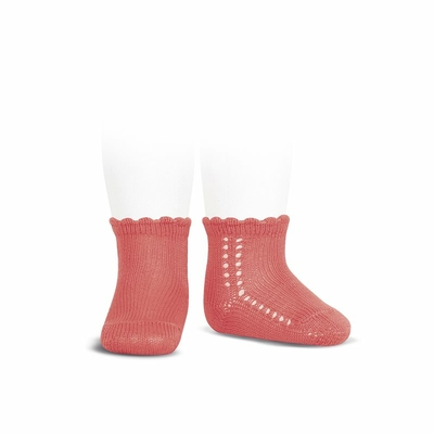 Socquettes ajourées en coton perlé coloris Coralline