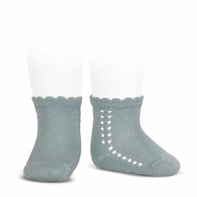 Socquettes ajourées en coton perlé coloris Dry Green