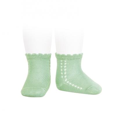 Socquettes ajourées en coton perlé coloris Vert Menthe