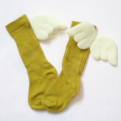 """Chaussettes hautes """"petit ange"""" coloris moutarde"""