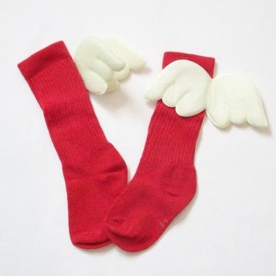 """Chaussettes hautes """"petit ange"""" coloris rouge"""