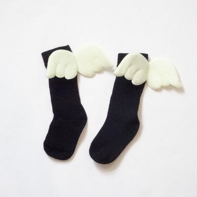 """Chaussettes hautes """"petit ange"""" coloris noir"""