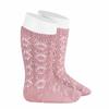 chaussettes-hautes-coton-ajouree-geometrique-pale-rose