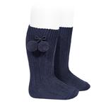 chaussettes-hautes-coton-chaud-cotele-pompon-bleu-marine