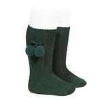 chaussettes-hautes-coton-chaud-cotele-pompon-verd-bouteille