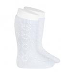chaussettes-hautes-coton-ajouree-geometrique-blanc