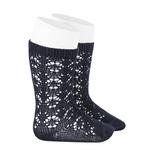 chaussettes-hautes-coton-ajouree-geometrique-bleu-marine