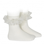 chaussettes-courtes-avec-tulle-plisse-creme