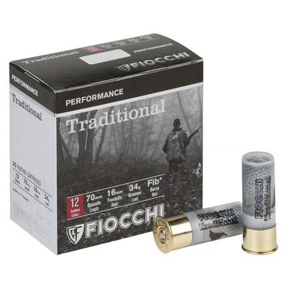 Cartouches FIOCCHI Traditional 34 Perf - Cal. 12/70 - Plombs 5 à 9