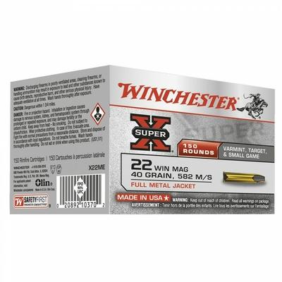 Cartouches WINCHESTER Super X FMJ  .22 Magnum/150