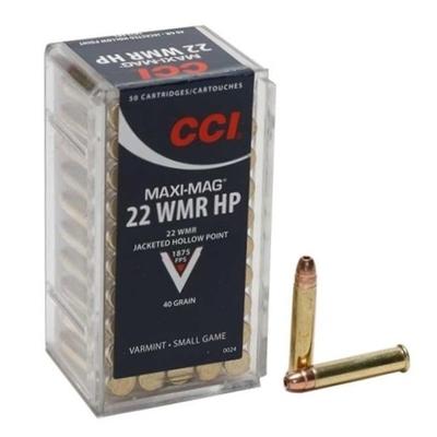 Cartouches CCI Maxi Mag JHP Calibre .22 Magnum
