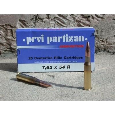Cartouches PARTIZAN  FMJ BT 170 gr  calibre 7,62x54R