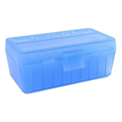Boite de rangement MTM P50 pour 50 cartouches .38SP, .357 Bleue