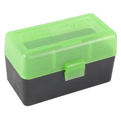 Boite de rangement MTM RS50 pour 50 cartouches .222, .223 Noire couvercle Vert