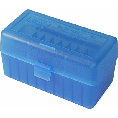 Boite de rangement MTM RM50 pour 50 cartouches .243, .308 Bleue