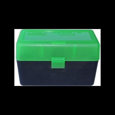 Boite de rangement MTM RL50 pour 50 cartouches .270, .30-06 Noire couvercle Vert