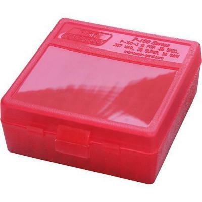 Boite de rangement MTM P100 pour 100 cartouches .38, .357 Rouge