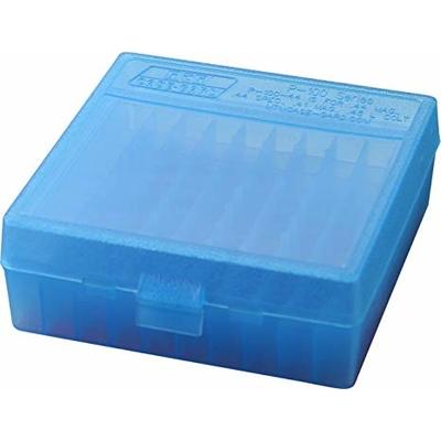 Boite de rangement MTM P100 pour 100 cartouches .44 Mag Bleue