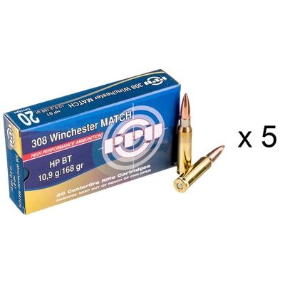 Lot de 5 boites de cartouches PARTIZAN  HP BT Match 168 gr Calibre .308