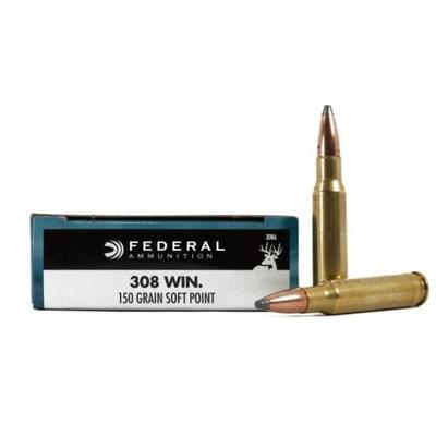 Cartouches FEDERAL Power Shok SP  150 gr   calibre .308