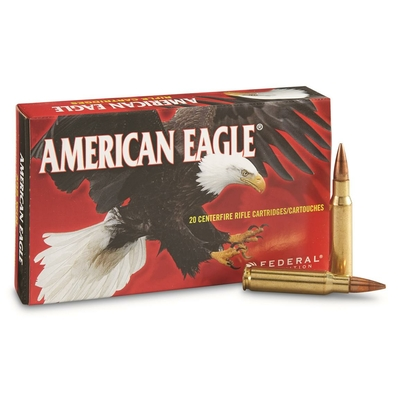 Cartouches AMERICAN EAGLE  FMJ BT 150 gr   calibre .308