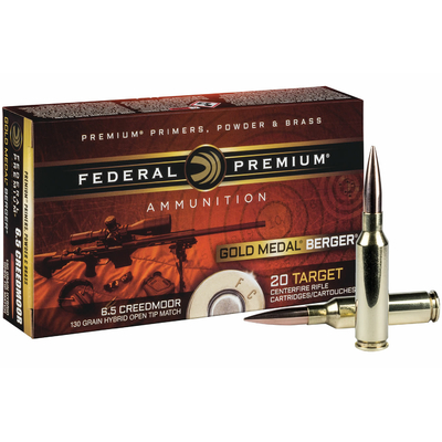 Cartouches FEDERAL Gold Medal 130 gr Berger Hybrid OTM  6,5 Creedmoor