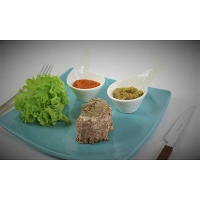 Terrine de chevreuil, délice poivron mascarpone et courgette curry