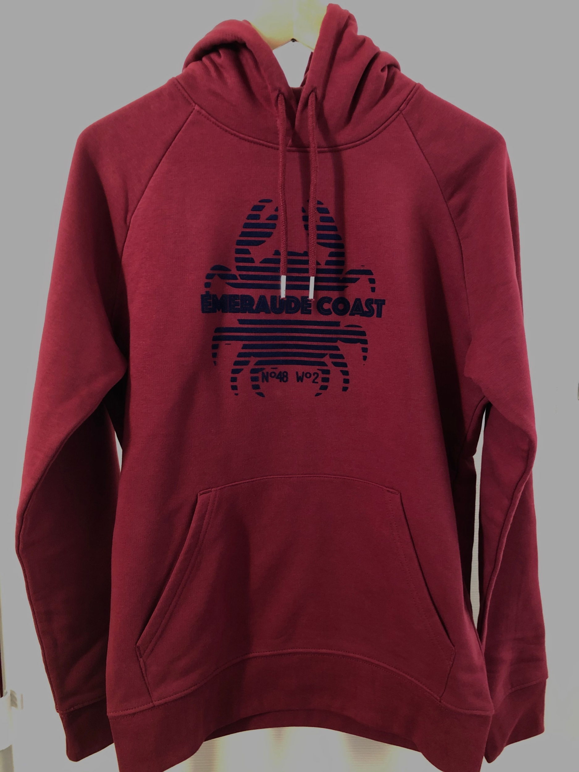 sweat breton adulte emeraude coast crabe bordeau