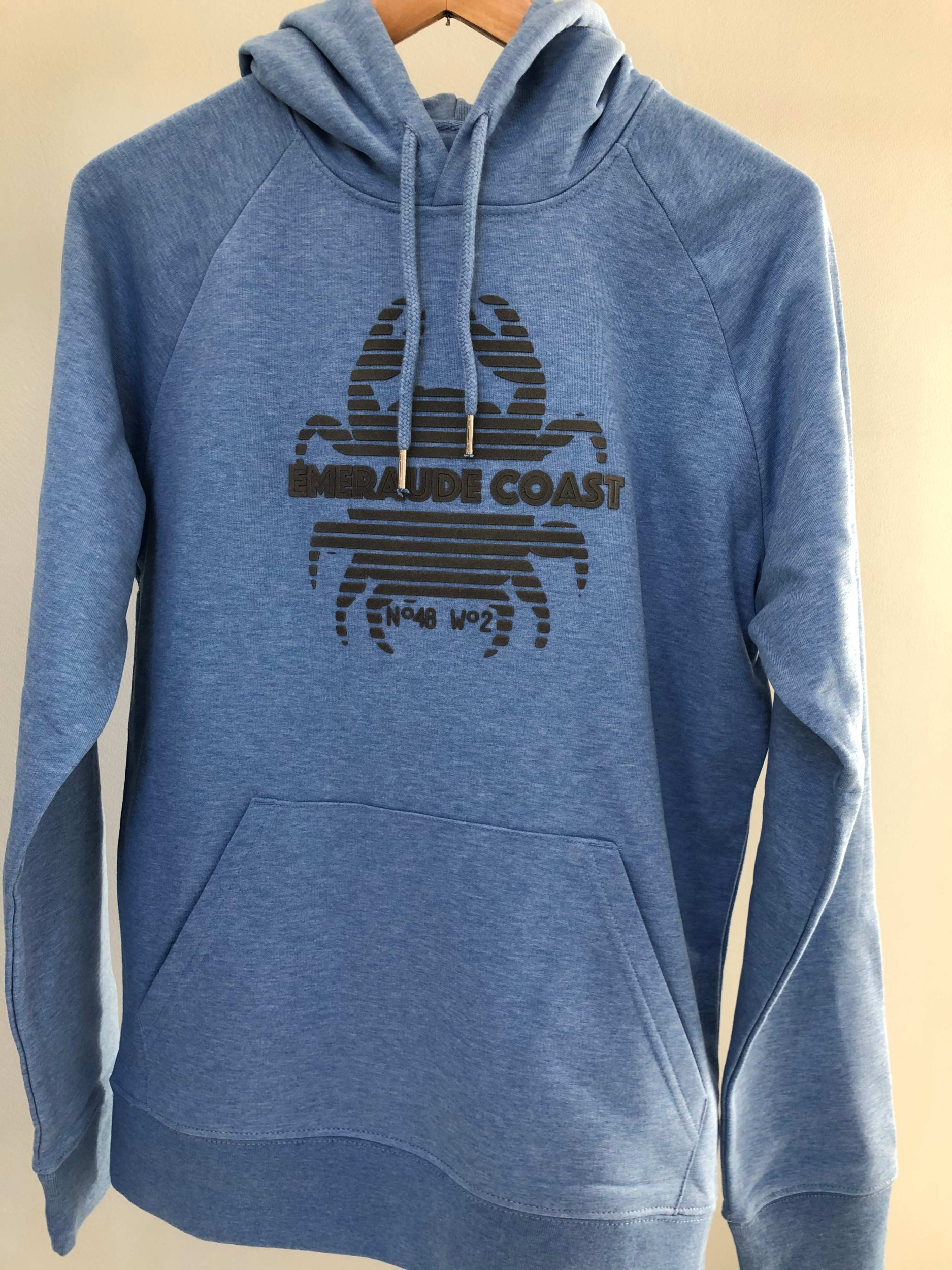 Sweat capuche adulte Bleu chiné - flocage Gris Crabe