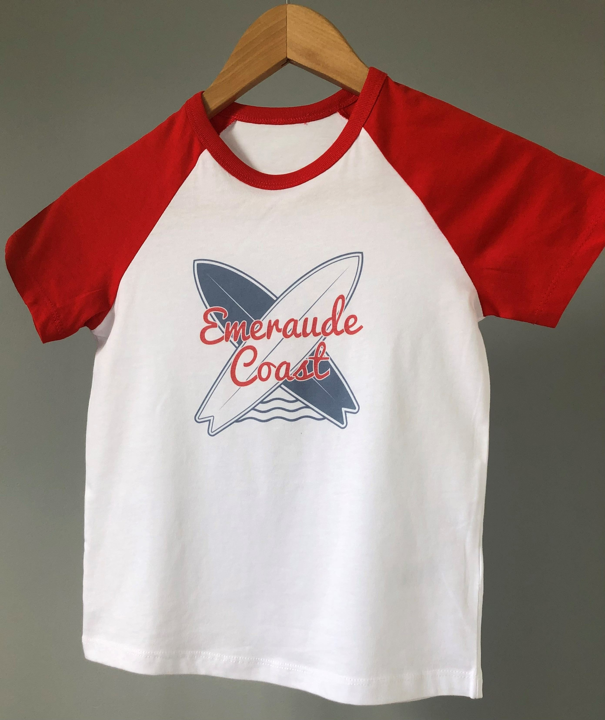 teeshirt enfant emeraude coast bicolore rouge surf-compressed