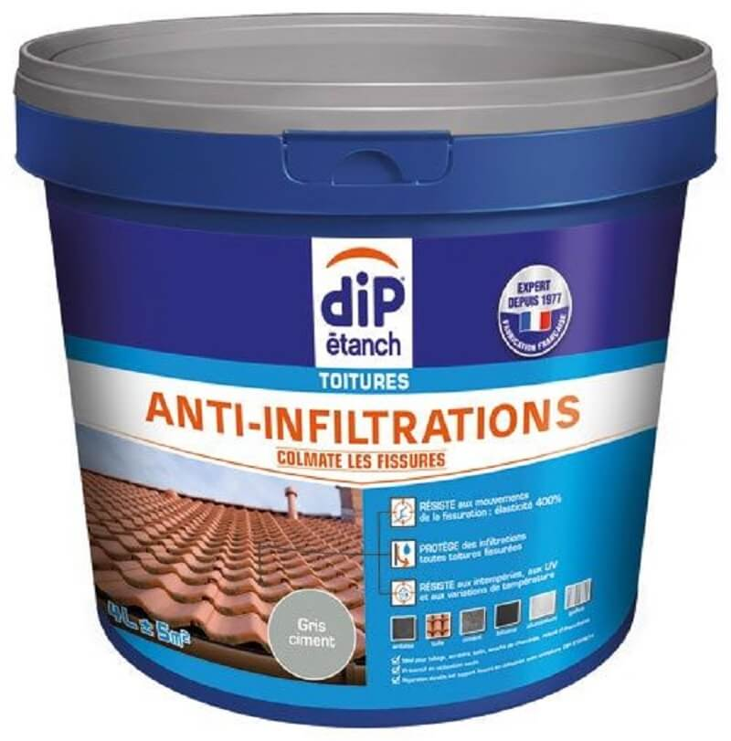 Dip étanch toitures anti-infiltration 4l gris ciment