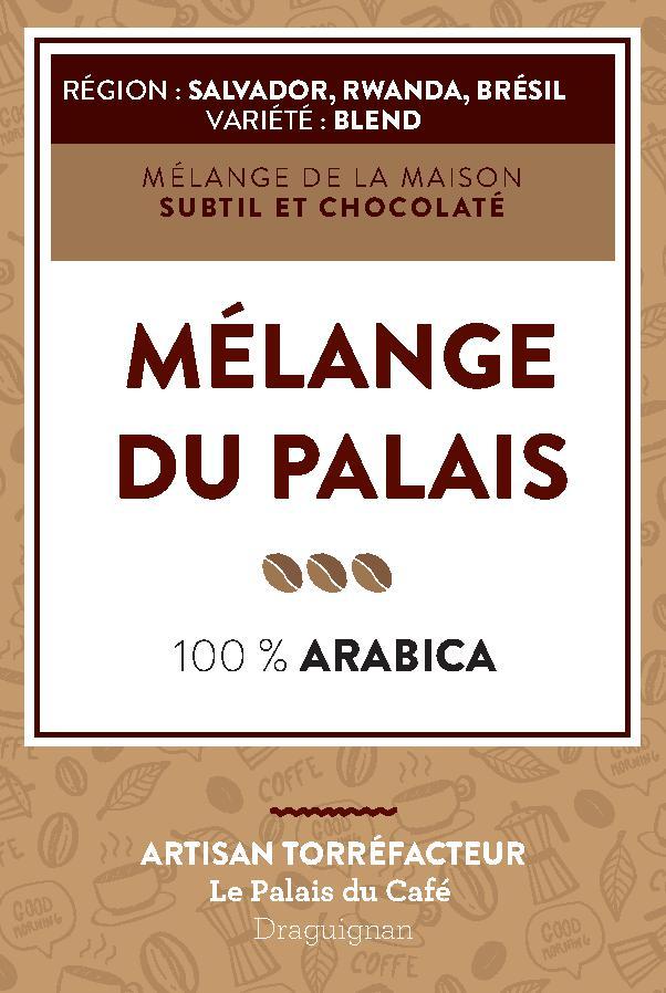 Mélange du Palais 100 % arabica - Salvador, Rwanda, Brésil