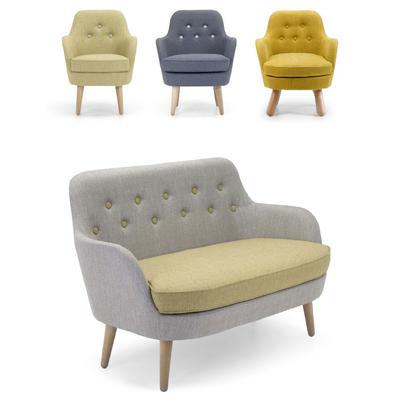 Canapé 2 places JEANJEAN avec fauteuil - Pieds style scandinave pour hôtel & spa