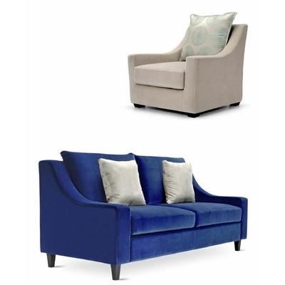 Canapé 2 places HARRY avec fauteuil et coussins pour hôtel & spa