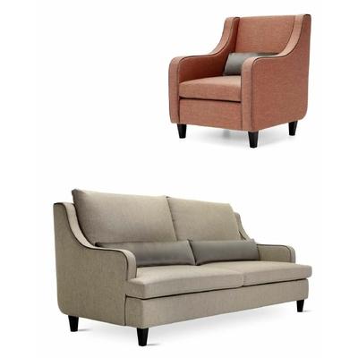 Canapé 3 places RICHARD avec fauteuil et coussins pour hôtel & spa