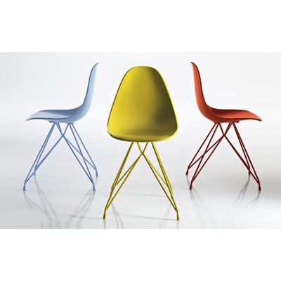 Chaise design NATURA pieds Eiffel - lot de 4 chaises pour salle d'attente ou restaurant